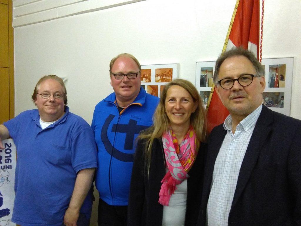 Die Kieler Kandidaten des SSW für die Landtagswahl 2017: Armin Petersen (Liste), Sven Christian Seele (Nord), Susanna Swoboda (West und Liste), Marcel Schmidt (Ost).